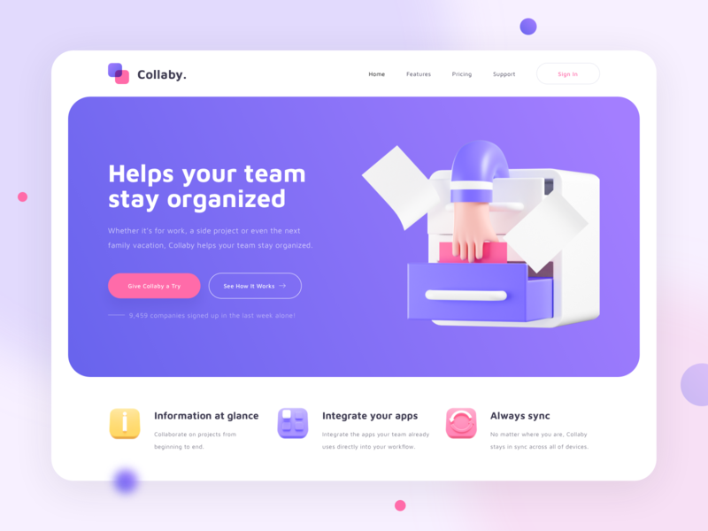 Collaby - Project Management Tool Website Exploration homepage design purple uidesign uiux ui hero illustration landing page blender web website illustration 3d