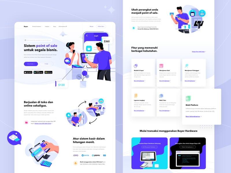 Bayer - Point of Sale Landing Page Exploration homepage ui uiux design web hero illustration branding purple ui design flat flat illustration illustration landing page website pos poin of sale