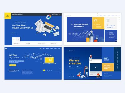Set of Web Design Templates social medi people project seo design management flat