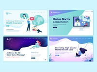 Set of web page design templates for medicine and health care