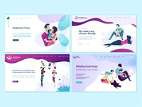 Set of web page design templates for family and health care