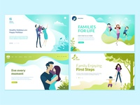 Set of web page design templates for family life