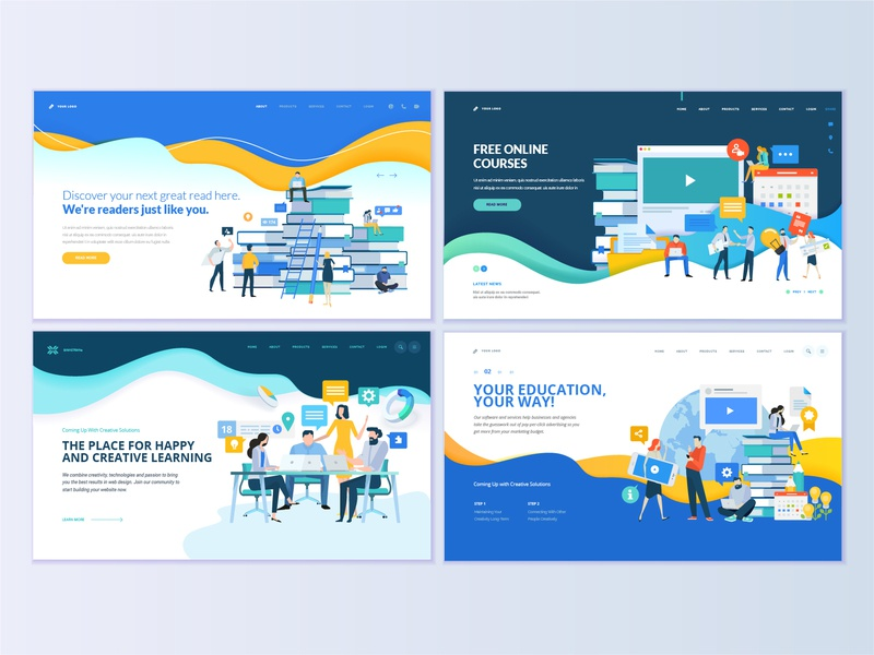 set of web page design templates for education by puresolution