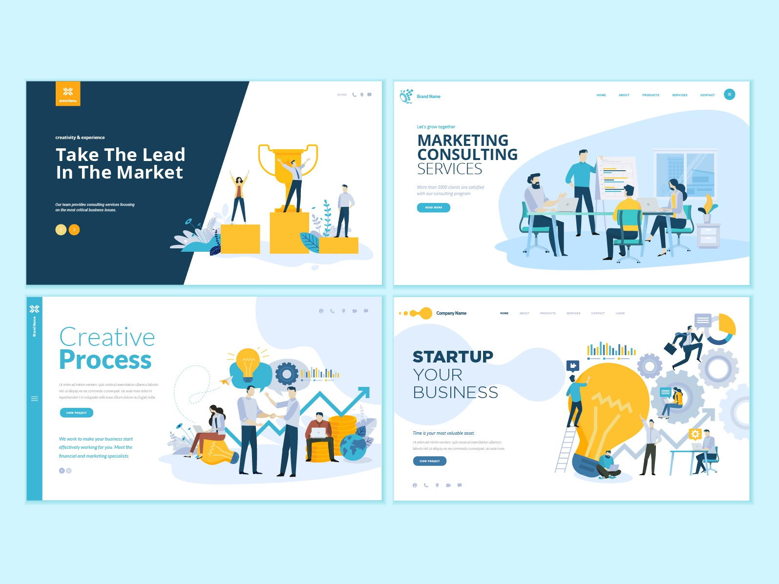 set of business web page design templates by puresolution | dribbble