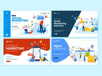 Set of web page design templates for digital marketing