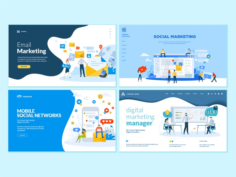 set of web page design templates for internet marketing by