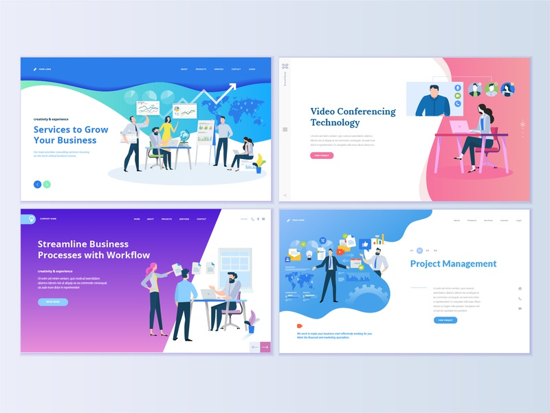 Set Of Business Web Page Design Templates By Puresolution On Dribbble