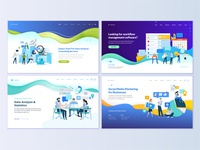 Set of web page design templates for business apps