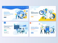 Set of web page design templates for SEO and web development