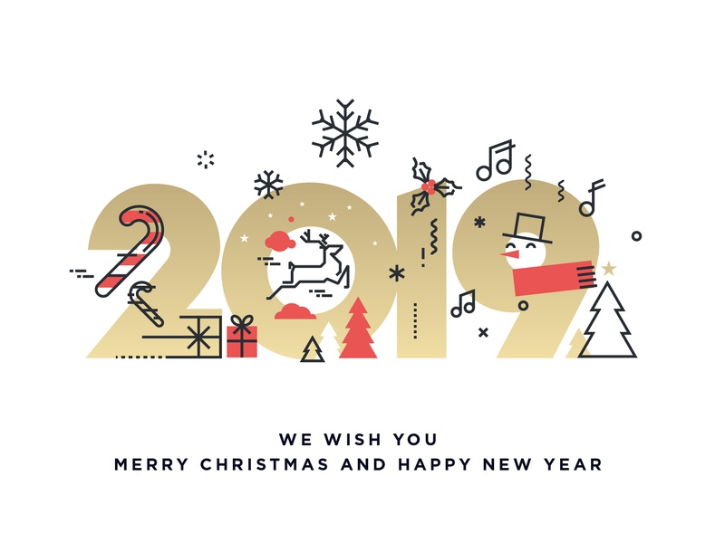 Merry Christmas and Happy New Year 2019 tree icon template invitation background social media party concept 2019 snow flake banner greeting card holiday new year christmas abstract object illustration vector web