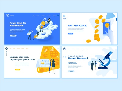 Set of Business Web Page Design Templates calendar management time pay per click research market project idea startup people business technology template app icon illustration vector page website web