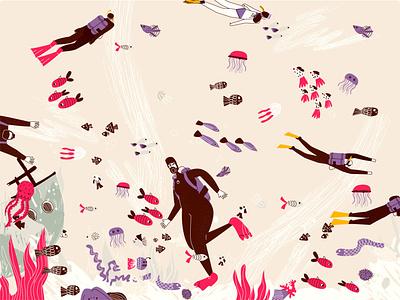 People snorkeling flat vector illustration style ux sketch vector design line art illustration adobe illustrator flat character