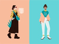 Woman charcters in trendy clothes