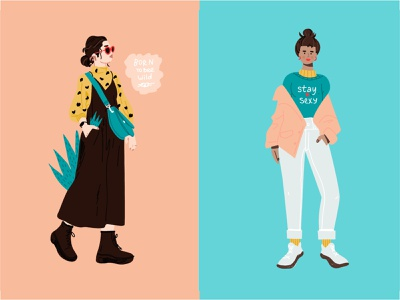 Woman charcters in trendy clothes cartoon style sketch vector app ui illustration adobe illustrator flat character