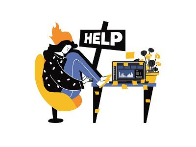Emotional burnout woman vector  llustration cartoon animation vector ui line art illustration adobe illustrator flat character