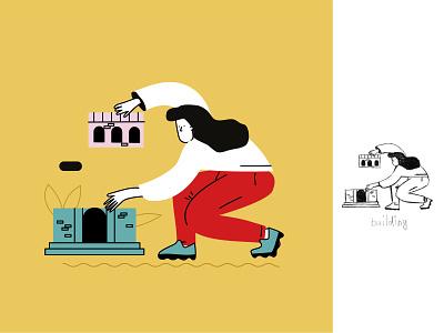 Building illustration cartoon style design vector ui line art illustration adobe illustrator flat character