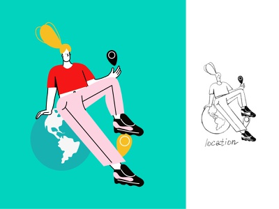 LOCATION linear illustration with sketch style sketch design vector ui line art illustration adobe illustrator flat character