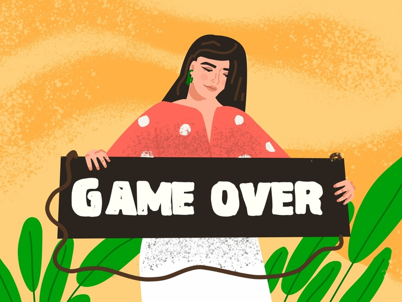 Game over - Finishing vector illustration, girl in flat style girl game over cartoon illustration vector ui line art adobe illustrator flat character
