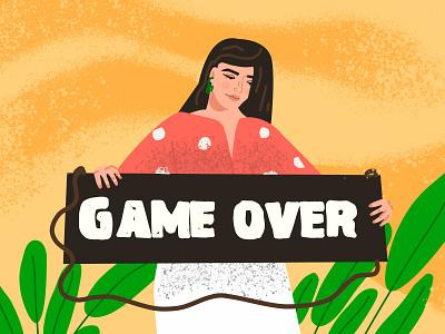 Game over - Finishing vector illustration, girl in flat style girl game over cartoon illustration vector ui line art adobe illustrator flat character
