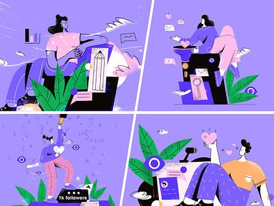 Purple flat style linear illustrations girl cartoon ui design vector line art illustration adobe illustrator flat character