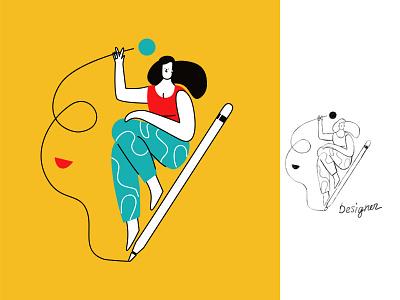 DESIGNER  for ls.graphics design vector sketch cartoon ui line art illustration adobe illustrator flat character