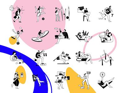 Ui Illustrations for Lottie animation animation ux illustration vector design ui line art adobe illustrator flat character