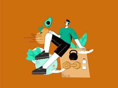 Healthy lifestyle vector illustration app cartoon design vector ui line art illustration adobe illustrator flat character