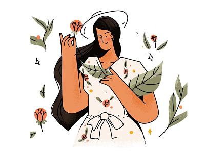 Summer illustration woman sketch cartoon vector line art illustration flat adobe illustrator character