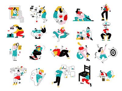 Vector illustrations vector line art illustration flat adobe illustrator character
