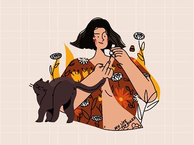 DTIYS girl with cat dtiys manicure girl cat cartoon design ui vector line art illustration flat adobe illustrator character