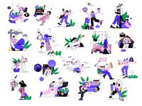 20 set illustrations ux cartoon design ui vector line art illustration flat adobe illustrator character