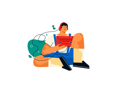 Man with a record player listens to music style cartoon design headphones cassette notes music record player line art illustration flat adobe illustrator character