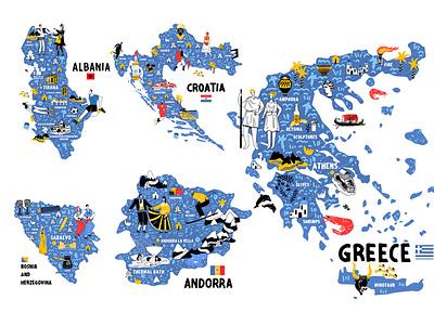 ALL EUROPEAN COUNTRIES DOODLES MAPS doodle design ui line art illustration flat adobe illustrator character