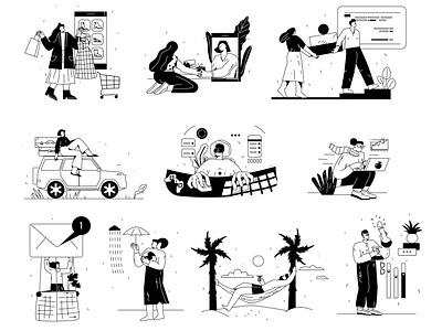Illustrations kit app cartoon design ui vector line art illustration flat adobe illustrator character