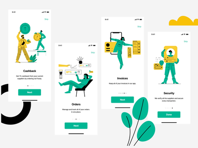 Onboarding for Foody prices security invoices orders cashback supplier app onboarding animation ui line art illustration flat adobe illustrator character