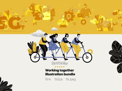 Working together illustrations (flat) trendy creative gears teamwork style cartoon vector line art illustration flat adobe illustrator character