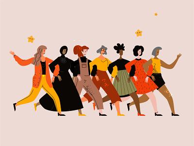 Female characters line art diversity diversity female vector line art illustration flat adobe illustrator character