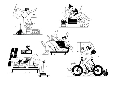 llustrations kit part 3 delivery working idea pets yoga cartoon vector line art illustration flat adobe illustrator character