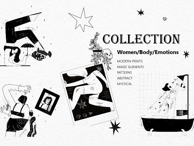 Black and White illustrations collection emotions body feminism female vector line art illustration flat adobe illustrator character