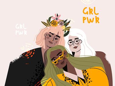 Cute girls feminism cartoon design ui vector line art adobe illustrator flat illustration character