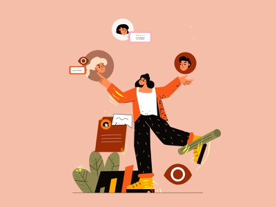 Employee selection, staff selection selection employee staff feminism app cartoon vector line art flat adobe illustrator illustration character