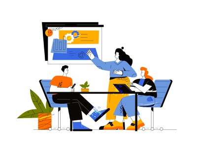 Teamwork flat illustration teamwork design cartoon vector line art adobe illustrator flat illustration character