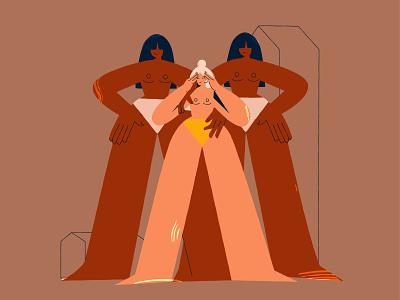 Strong women support mother mother feminism cartoon vector line art adobe illustrator flat illustration character