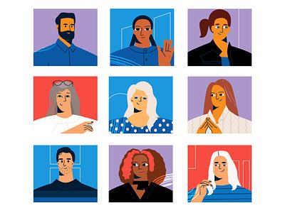 Team peoples ui vector line art adobe illustrator flat illustration character
