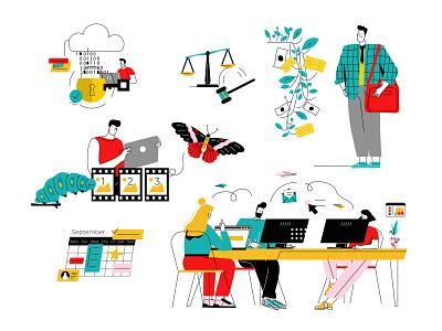 Bright illustrations footage calendar security data teamwork seo design ui vector line art adobe illustrator flat illustration character