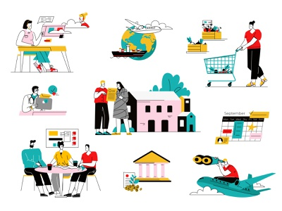 Bright illustrations part2 shop house bank calendar team work teamwork travel bundle ui vector line art flat adobe illustrator illustration character