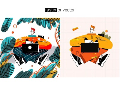 Raster or vector? line art cartoon adobe illustrator flat lineart colorful drawing reading ui character image raster illustration illustrator vector