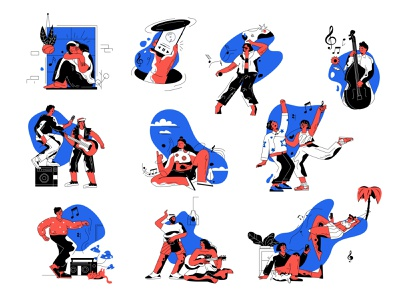 FREE Vector music set app design ui cartoon vector line art adobe illustrator flat illustration character