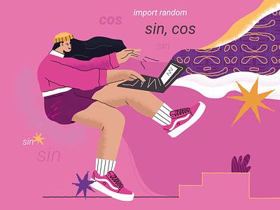 Python Imaging Library code graphic design cool cute programmer laptop programming logo branding design ui vector line art adobe illustrator flat illustration character