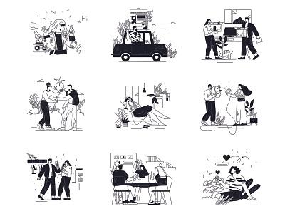 Lineart style set illustrations landing illustrations business teamwork 404 sketches drawings black and white design ui vector line art flat adobe illustrator illustration character